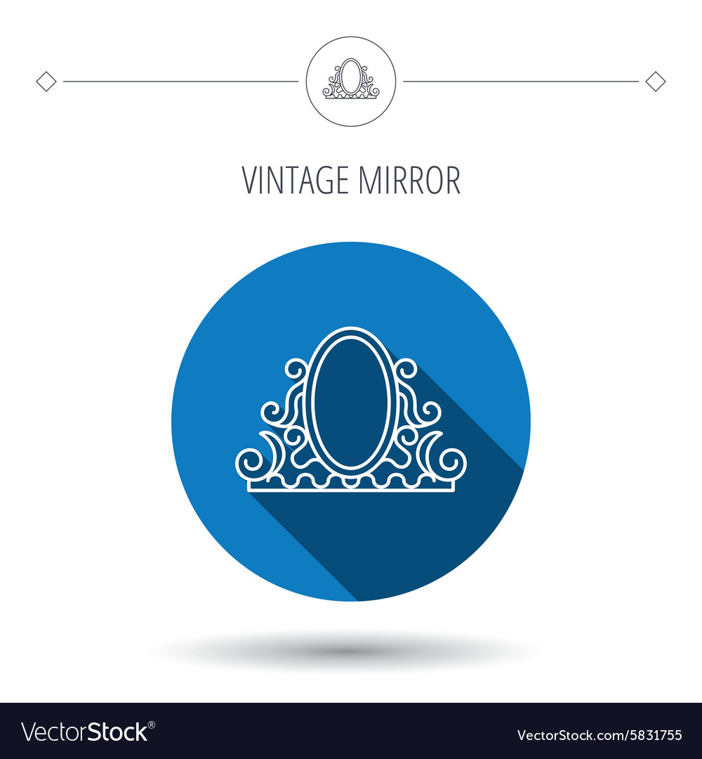 Vintage mirror icon Retro decoration sign