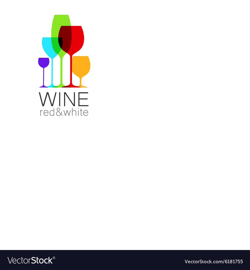 Wine red white template logo