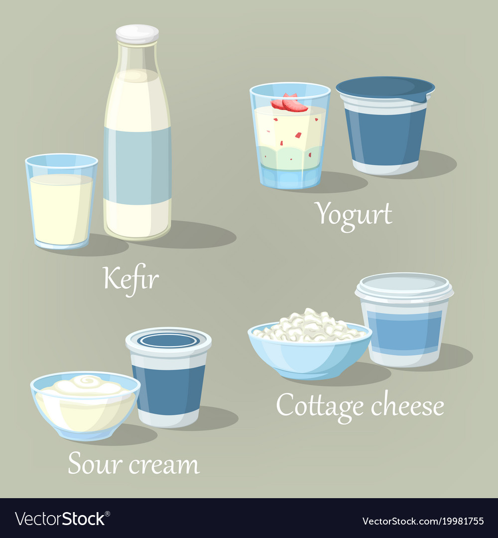 Yogurt and kefir cottage cheese with sour cream