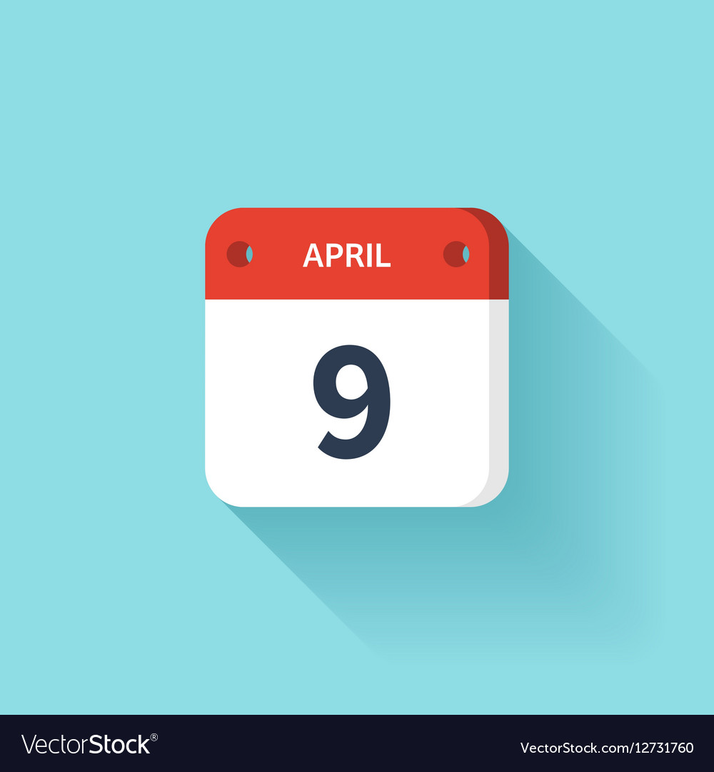 April 9 Isometric Calendar Icon With Shadow