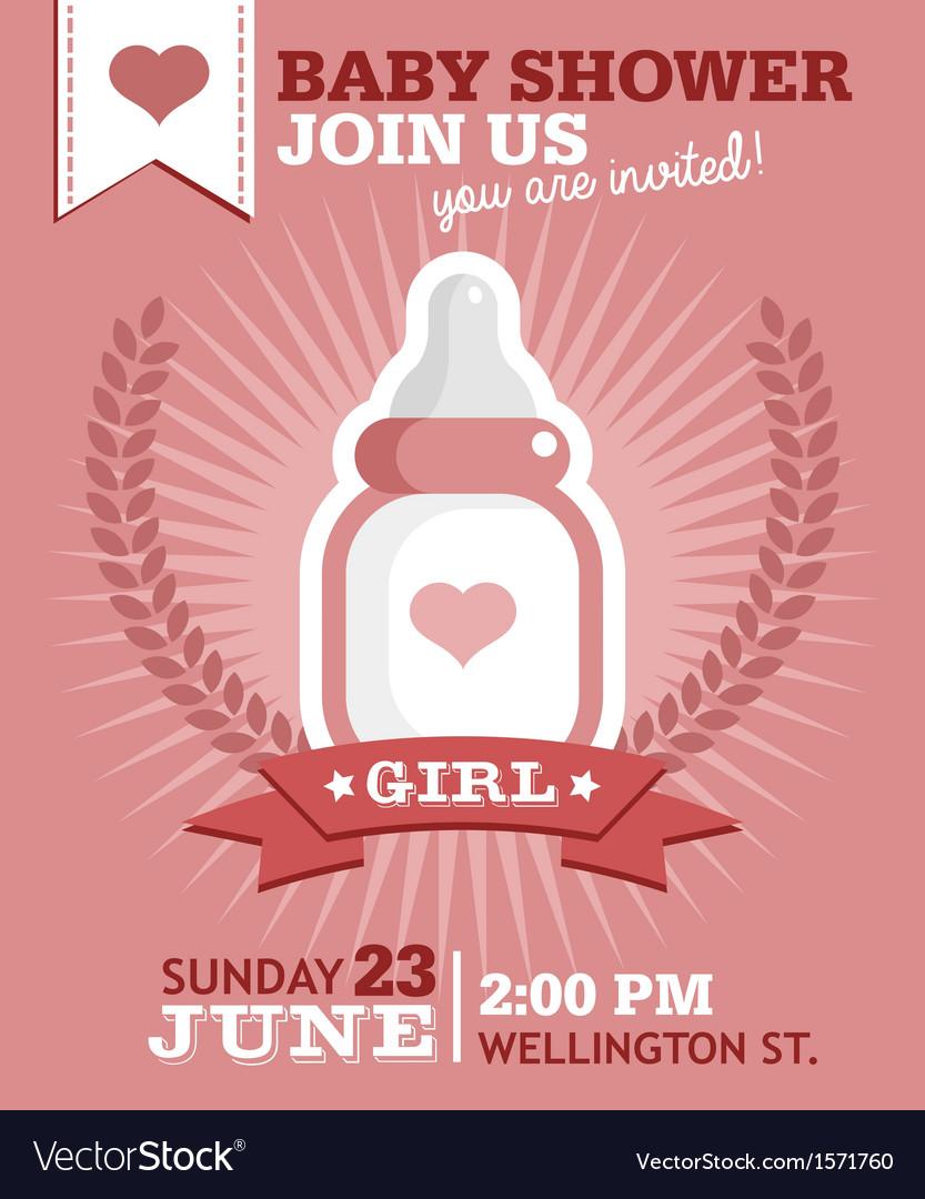 Baby Girl Bottle Invitation Royalty Free Vector Image