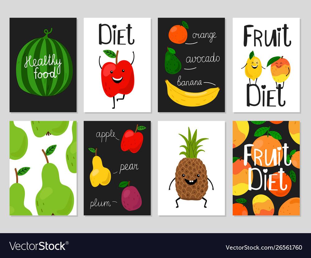 Cartoon fruits cards