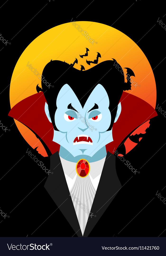 Count Dracula and moon Evil vampire Aggressive vector image