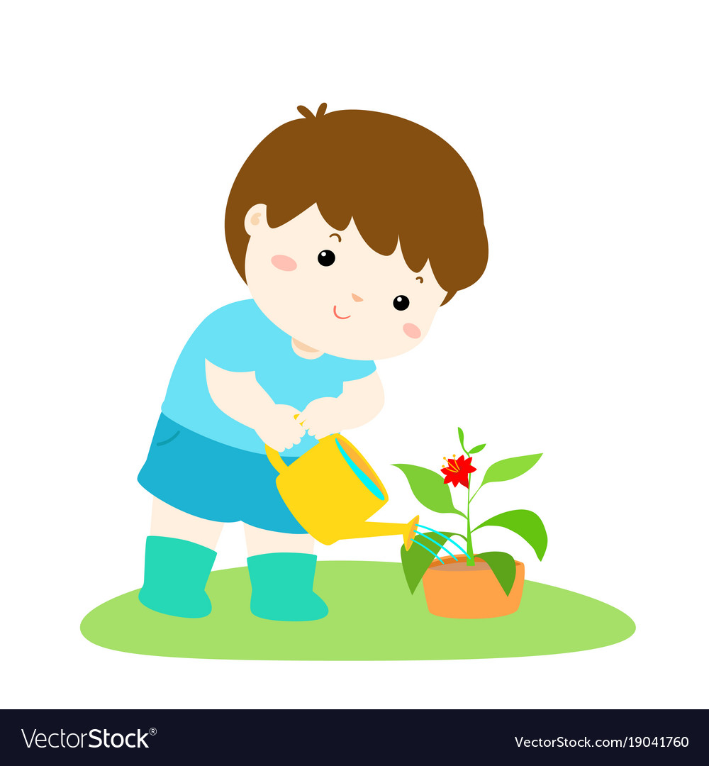 Cute cartoon boy watering plant