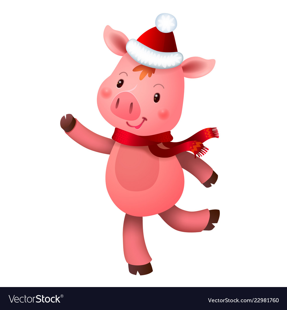 Cute pig and santa hat symbol of the year in