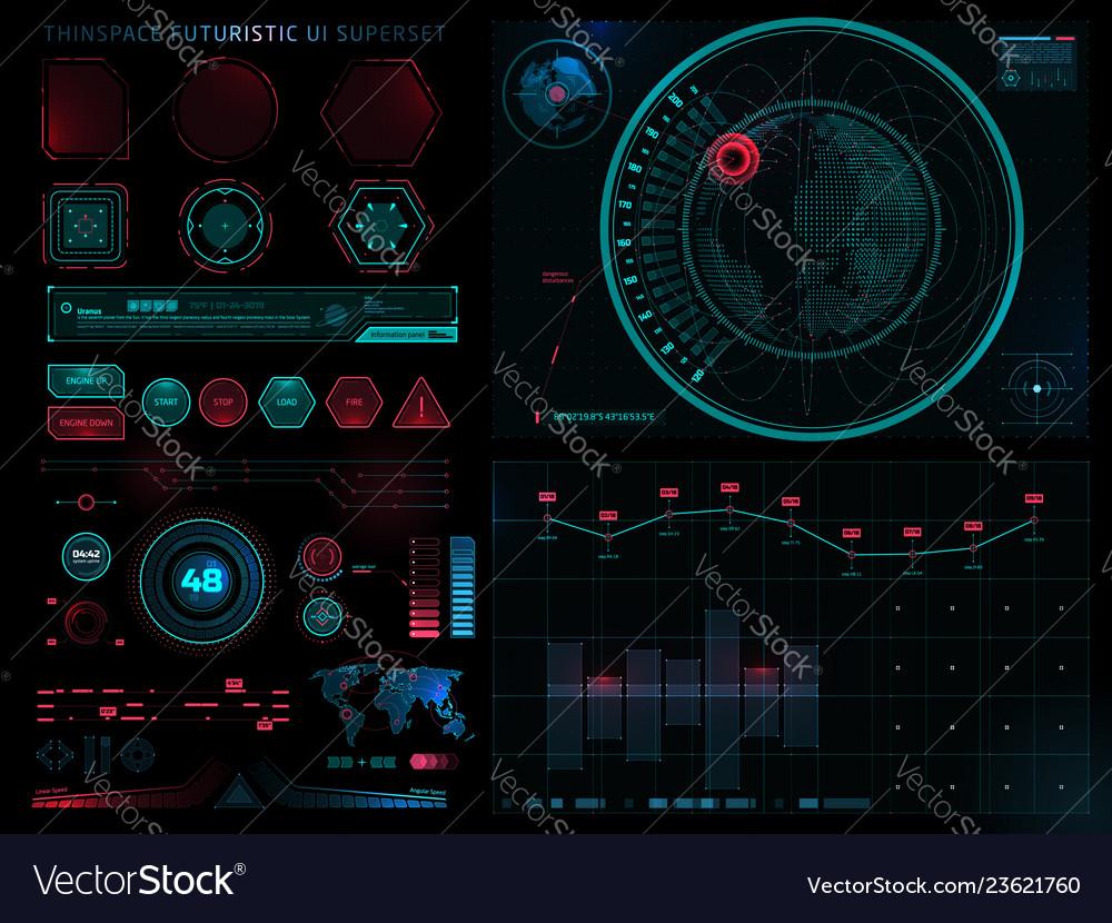 Futuristic sci fi modern user interface set