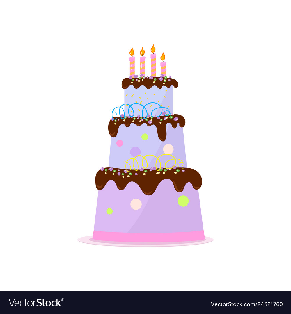 Awe Inspiring High Three Tiered Birthday Cake With Chocolate Vector Image Funny Birthday Cards Online Inifofree Goldxyz
