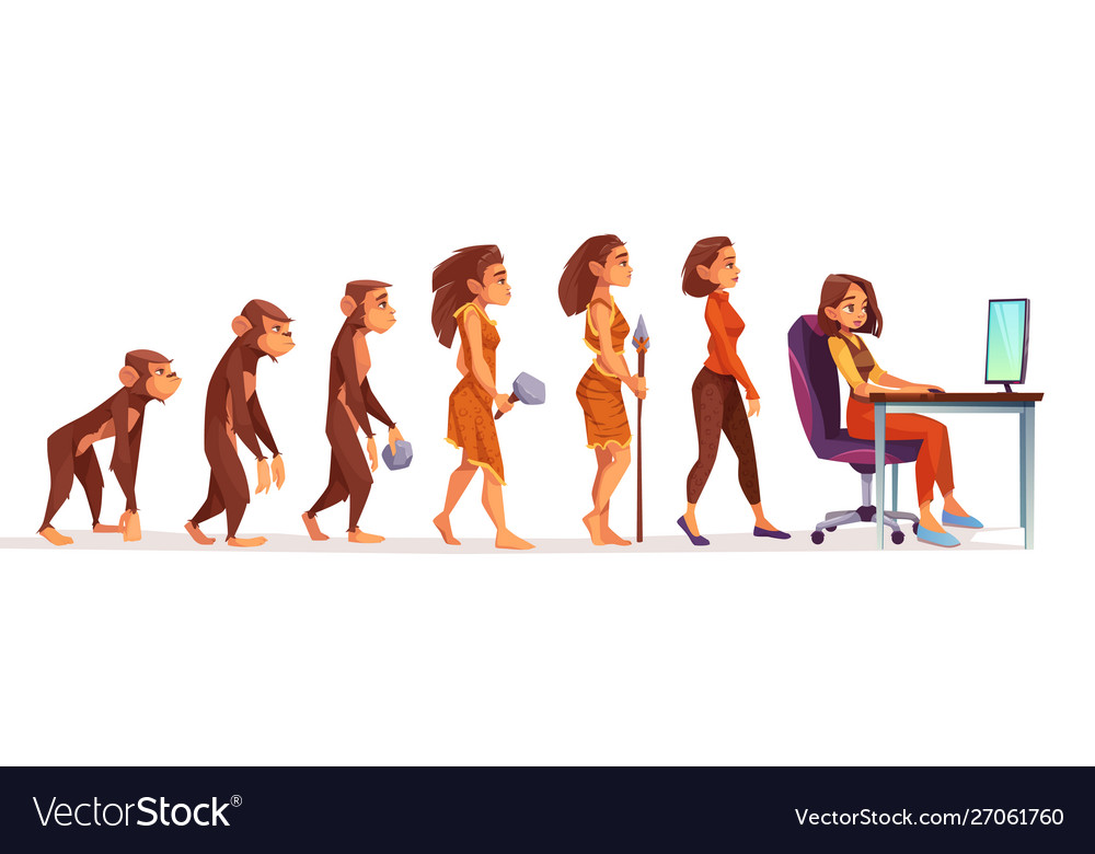 Human evolution from monkey to woman freelancer