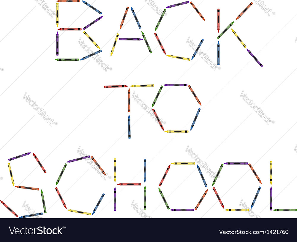 Large Colored Crayons Forming Back to School vector image