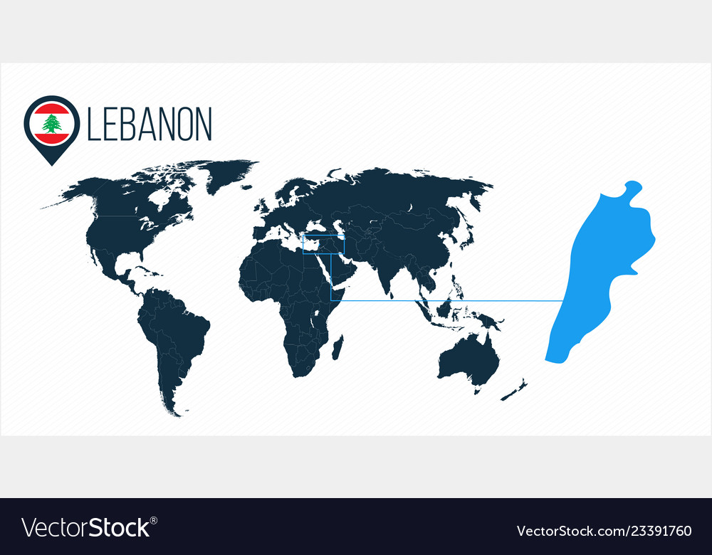 Lebanon Location On The World Map For Royalty Free Vector