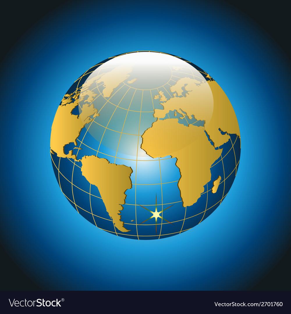 Modern Globe on Blue Background