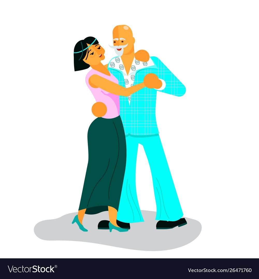 Pair active seniors dancing
