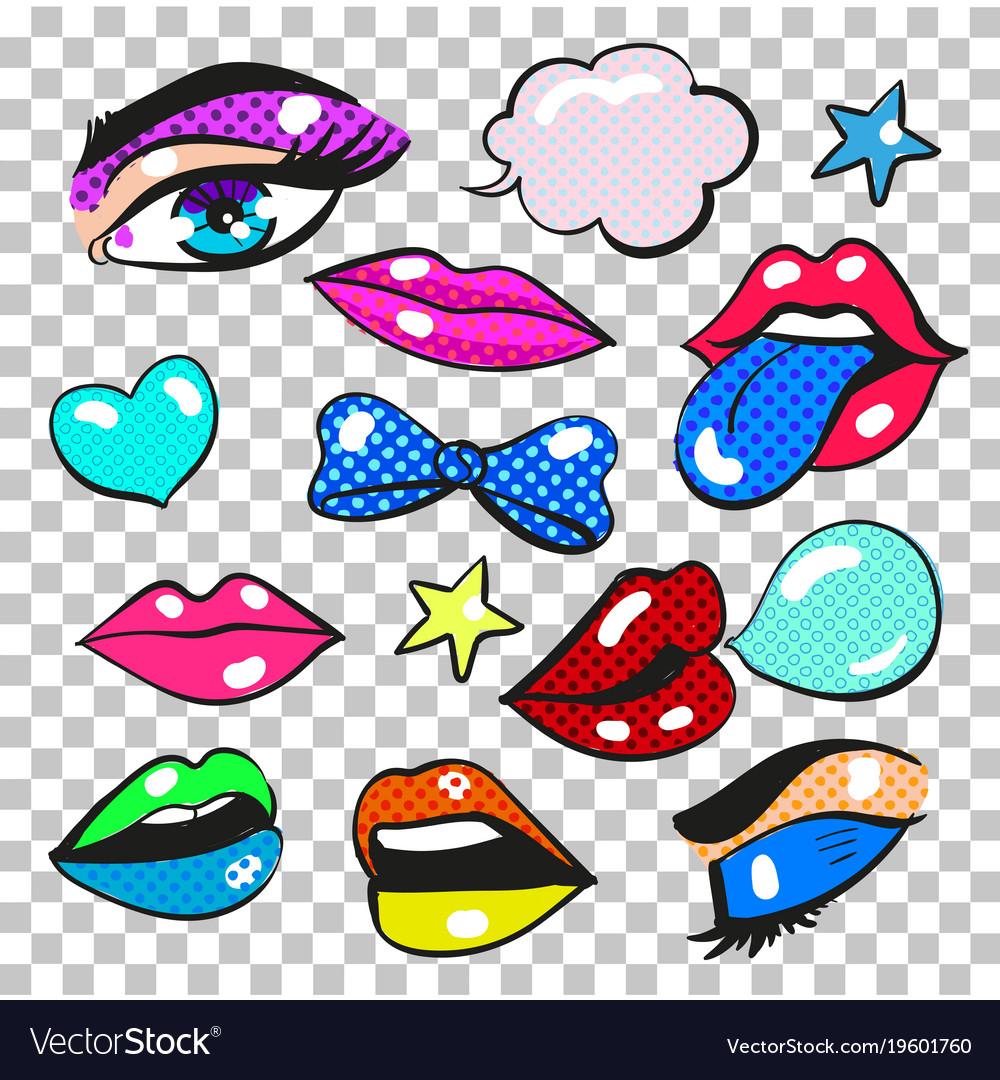 Pop art comic fashion patches stickers set