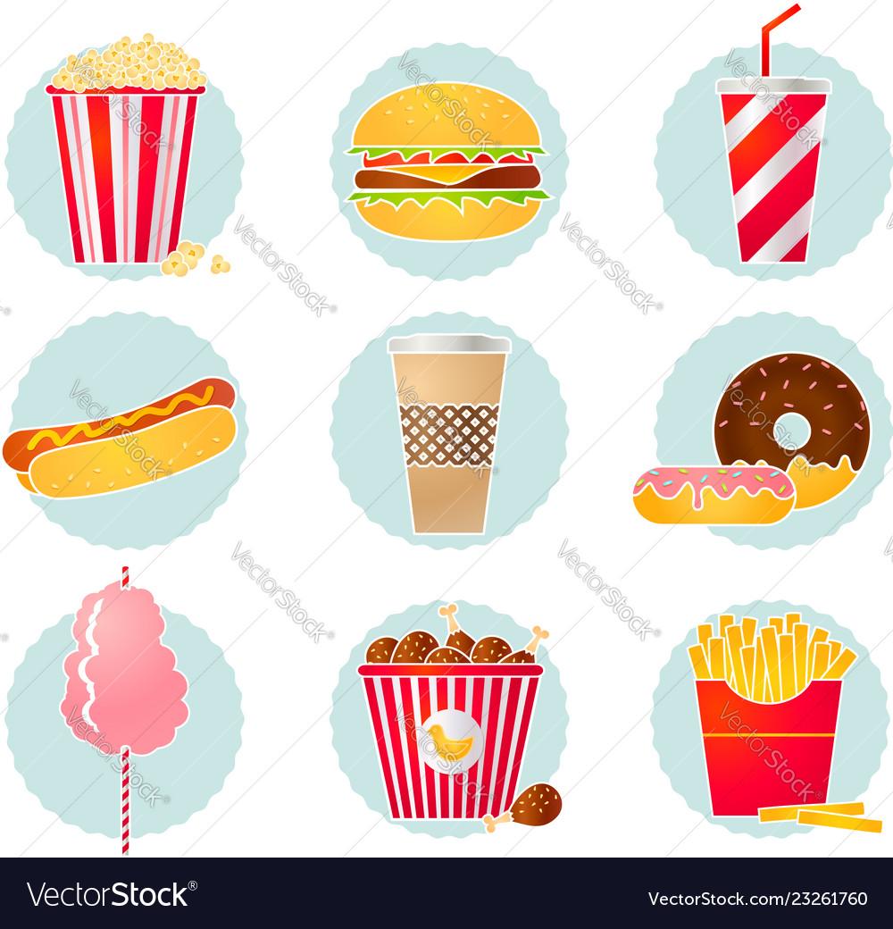 Retro fast food icons