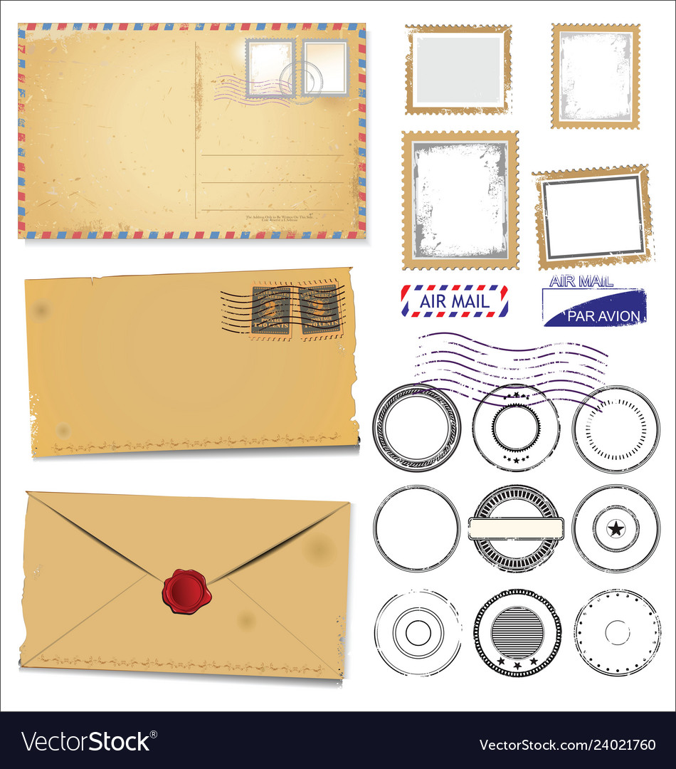 Set vintage post stamp symbols
