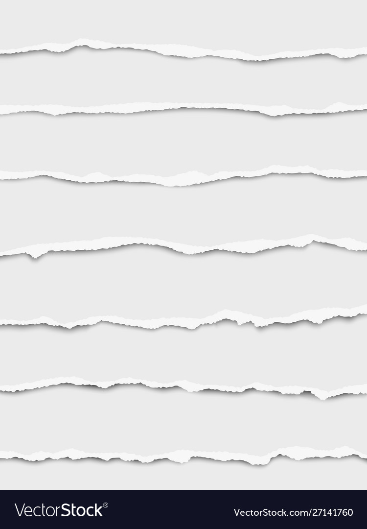 Seven oblong torn white paper wisps
