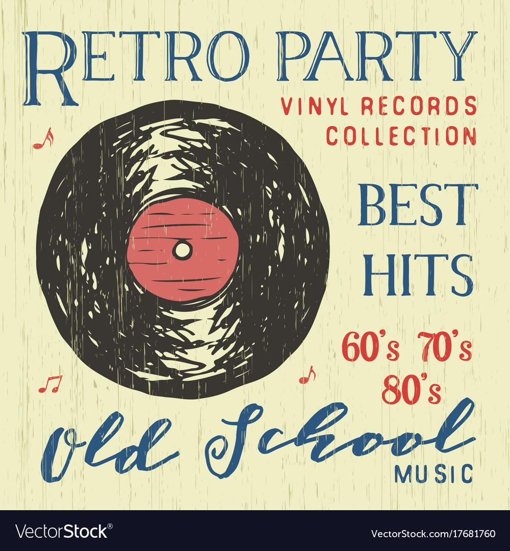 T-shirt design retro party with vinyl record