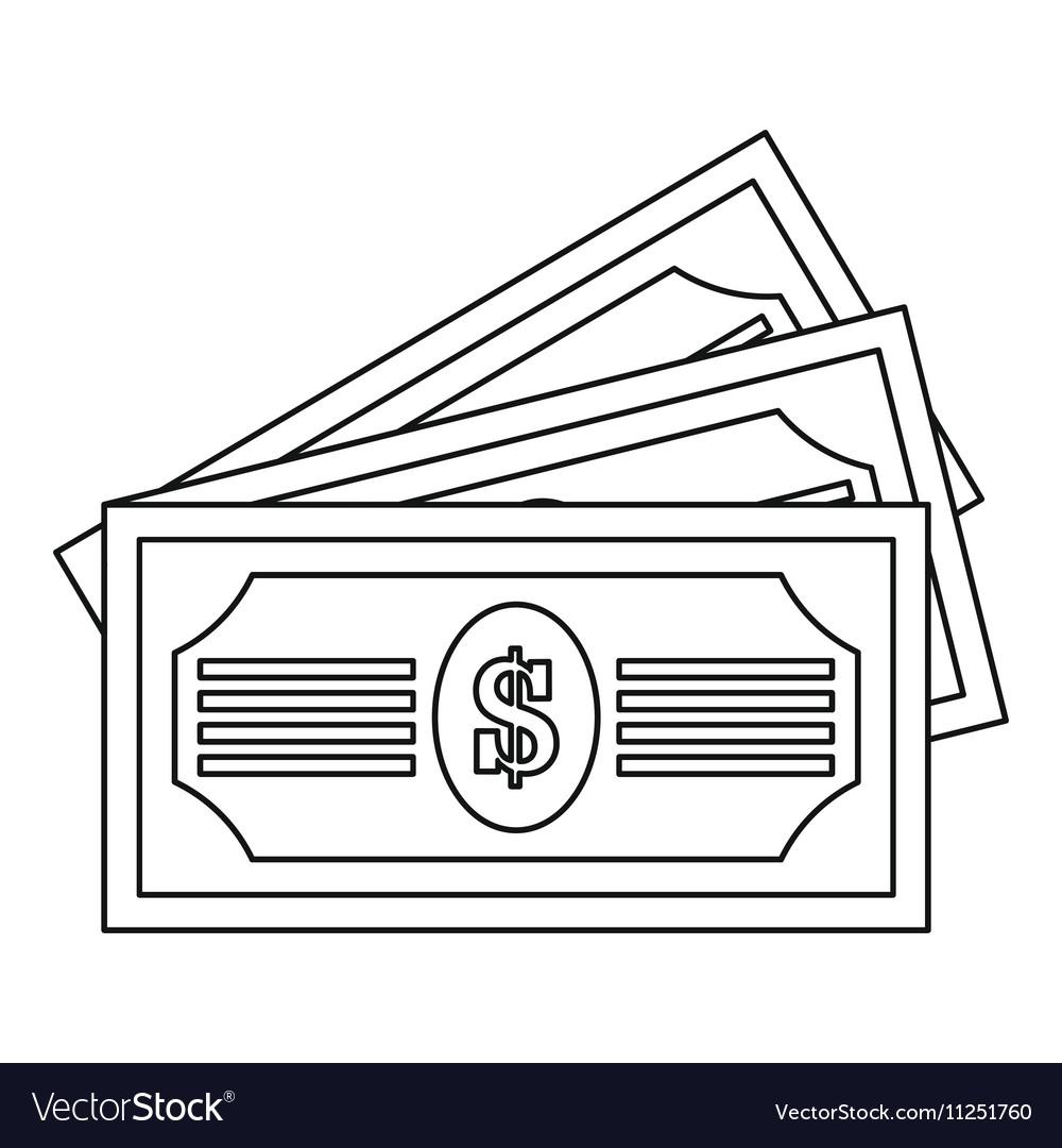 Three dollar bills icon outline style