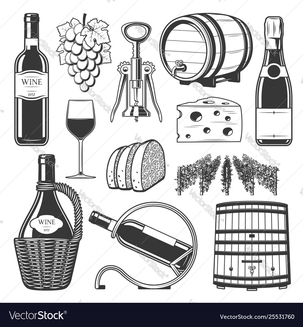 Winemaking winery and wine production icons