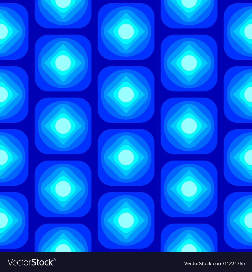 Abstract Round Square Seamless Pattern Blue