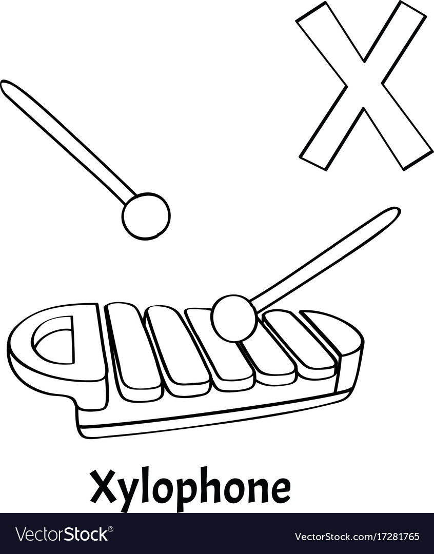 Alphabet letter x coloring page xylophone Vector Image