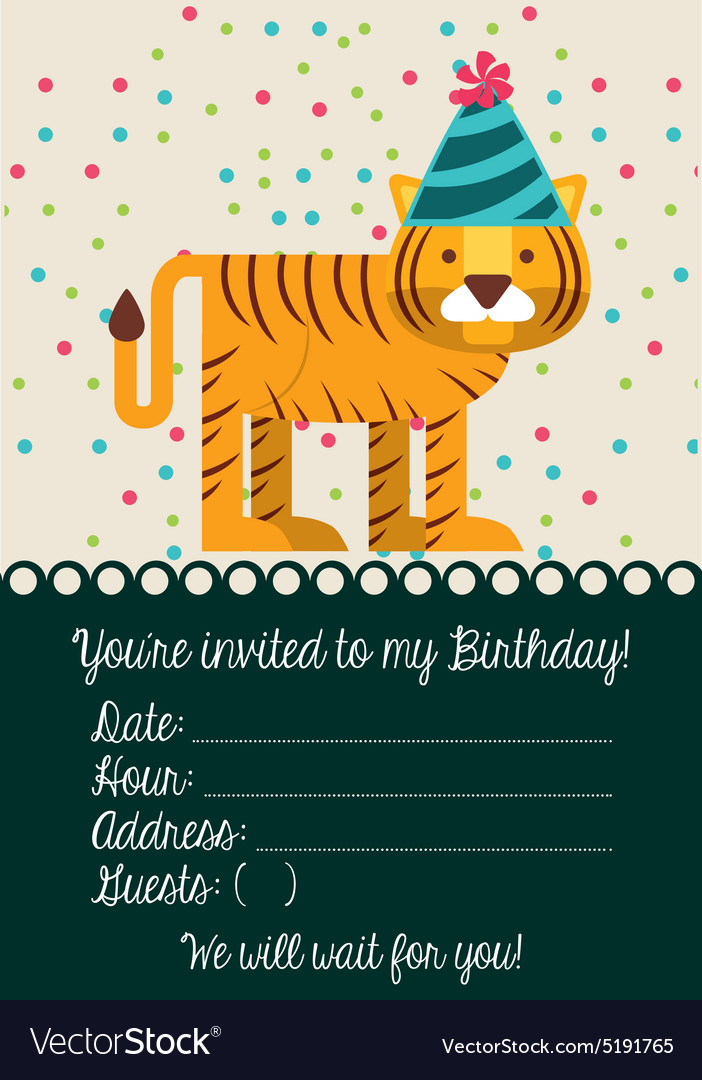 Tiger Birthday Hat Vector Images 48