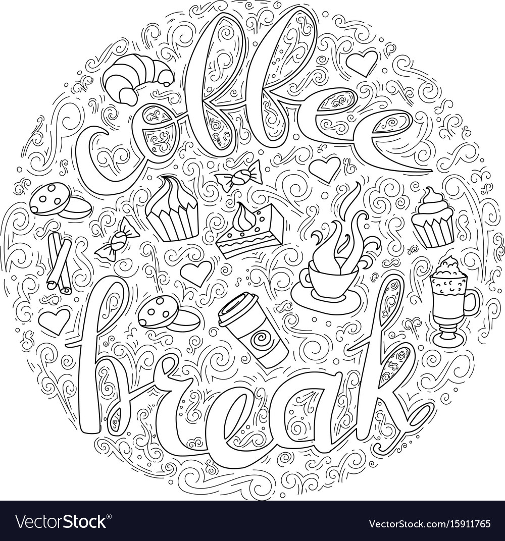 Coffee break coffee cups frame - wreath vector image