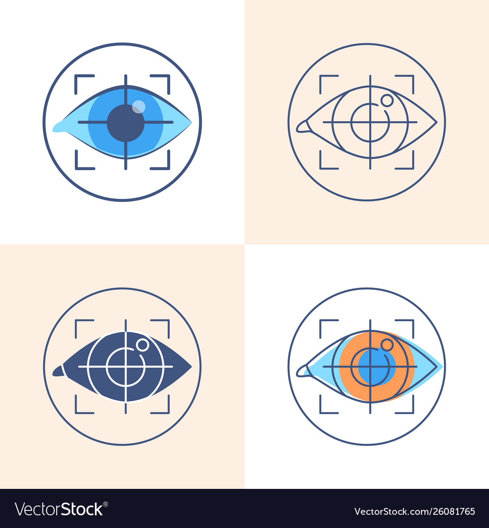 Eye tracking icon set in flat and line style