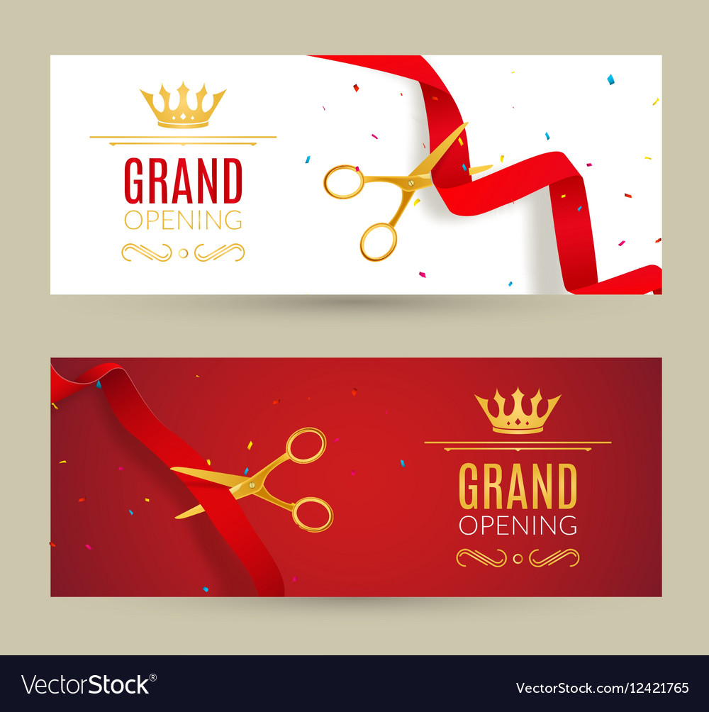 Grand opening invitation banner red ribbon cut vector image stopboris Images