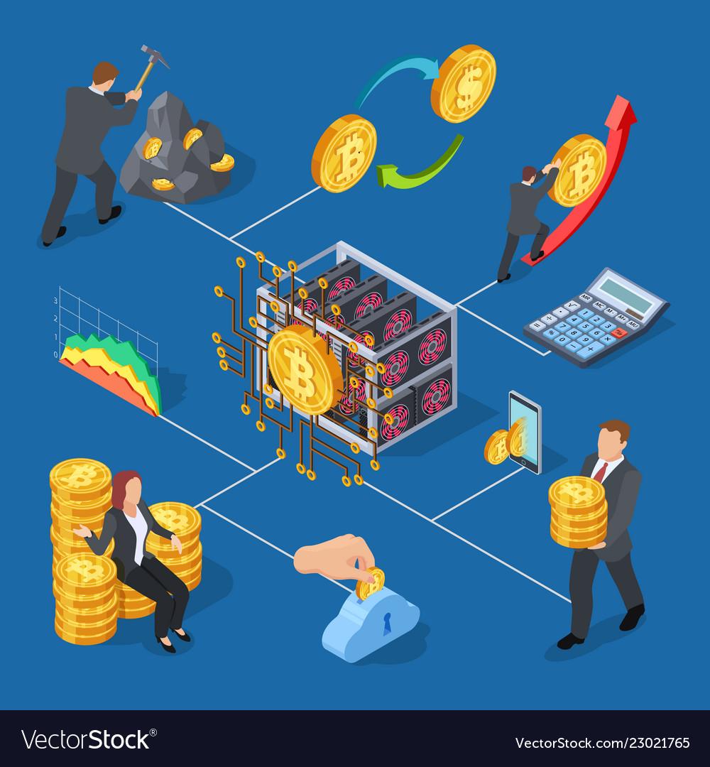 Ico and blockchain isometric icons bitcoin mining