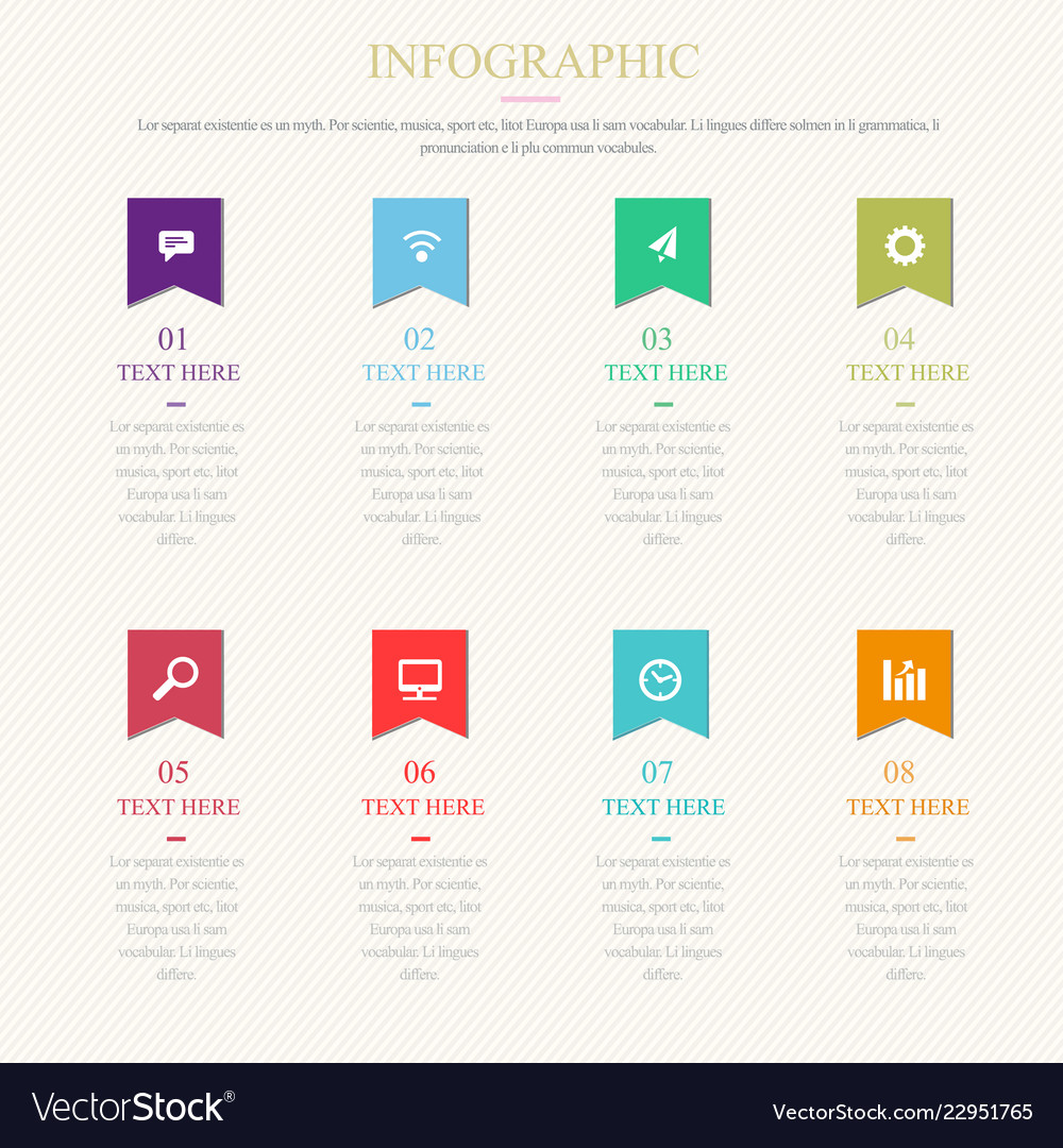 Infographic template with 1-8 steps