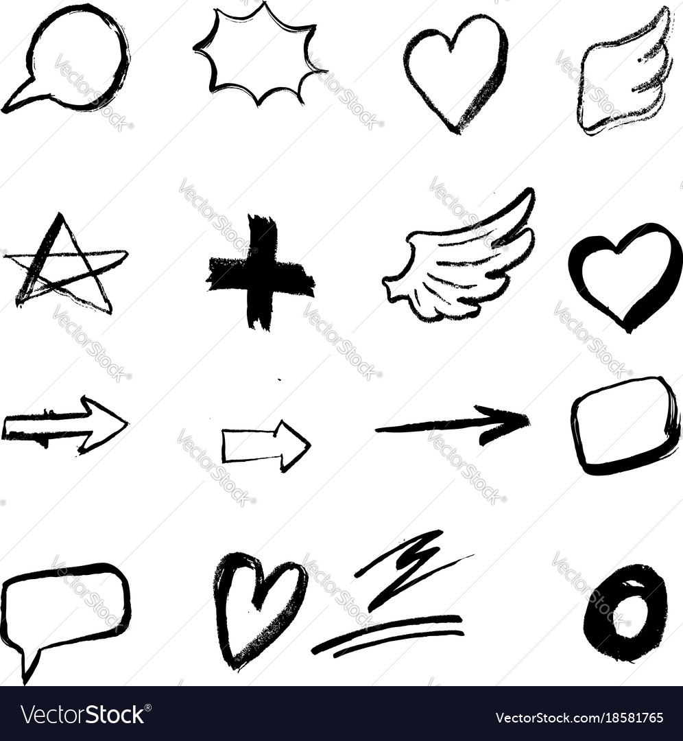 Set of hand drawn icons isolated on white