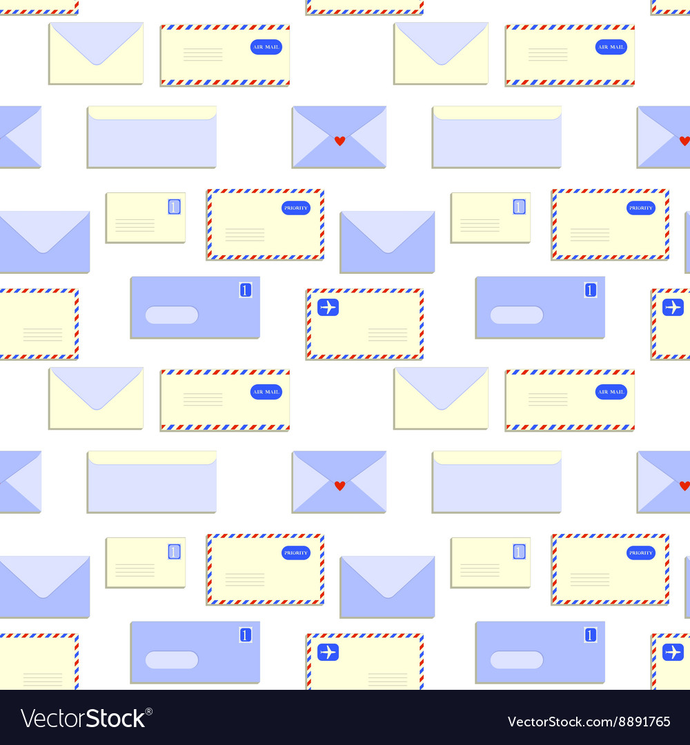 Snail mail letters envelopes seamless pattern