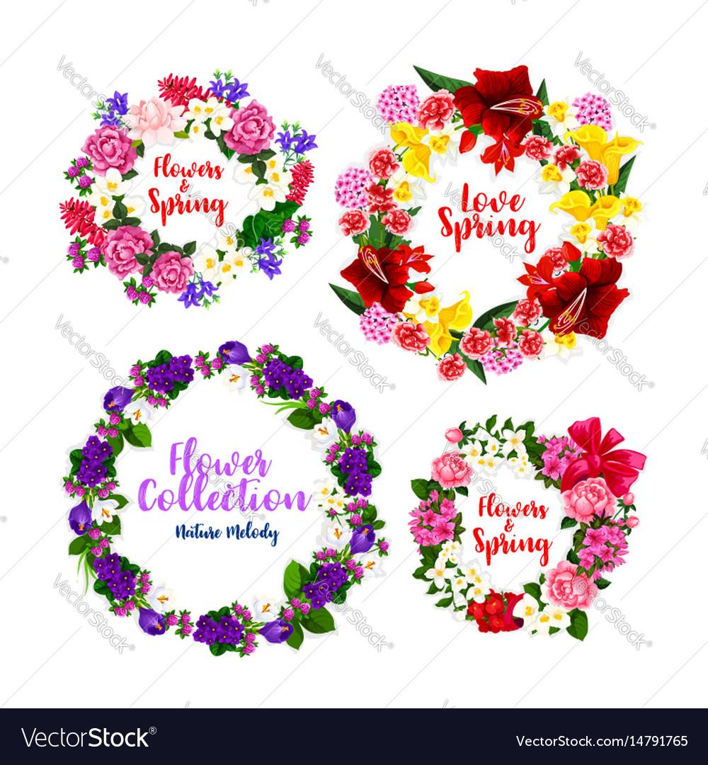 Spring flower wreath and floral frame border vector image