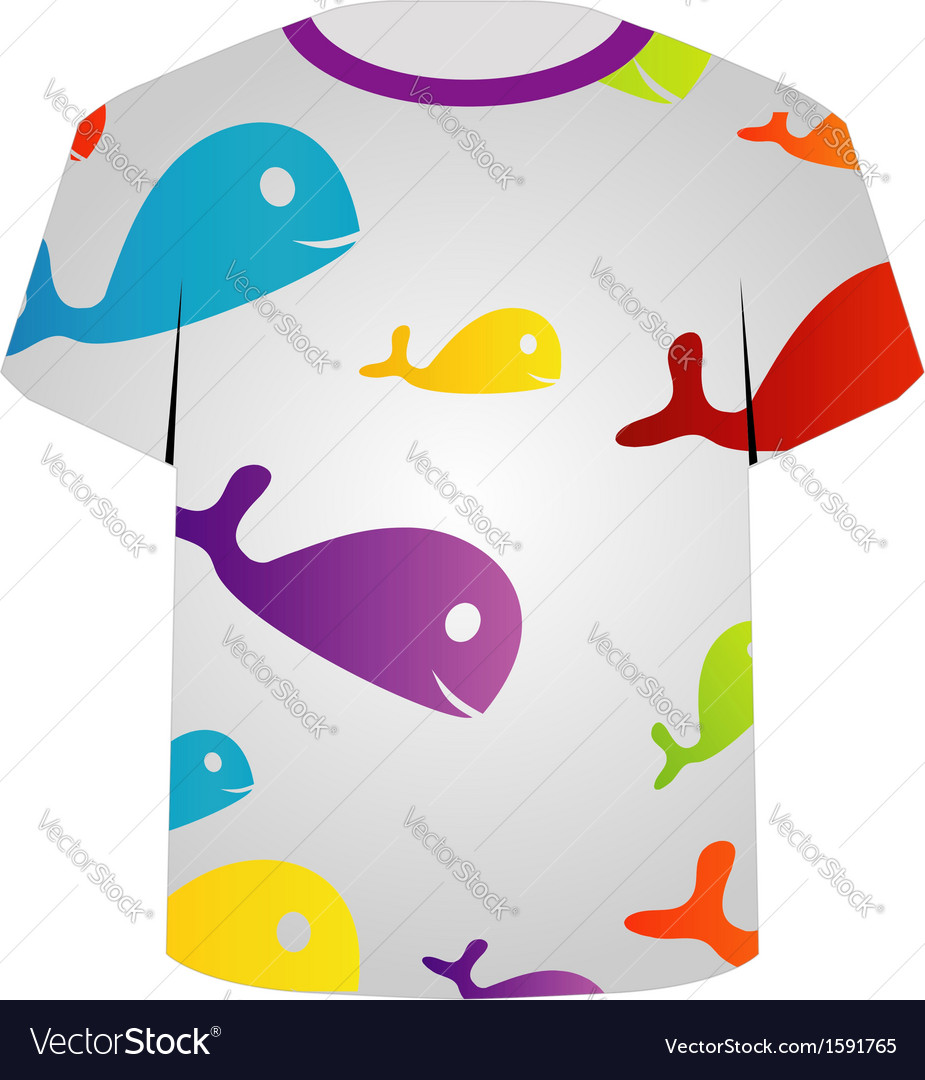 T Shirt Template- colorful fishes