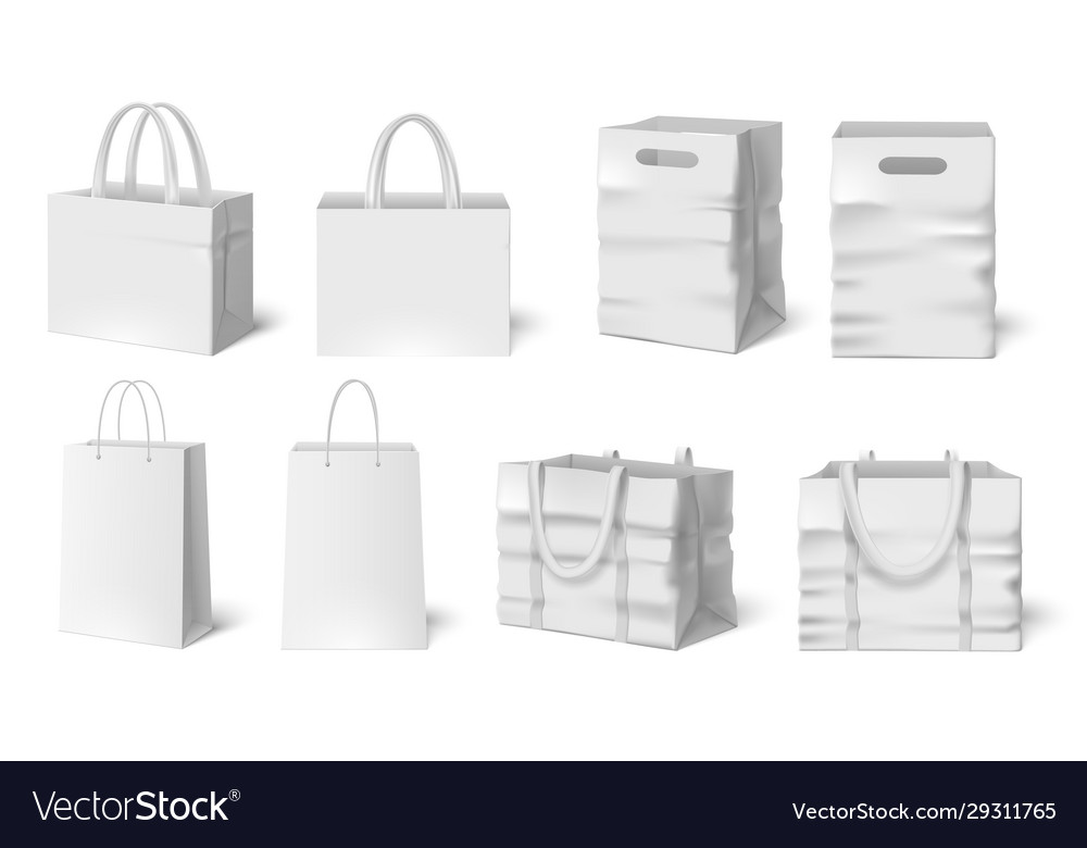 White shopping bag mockup paper bags fabric bag