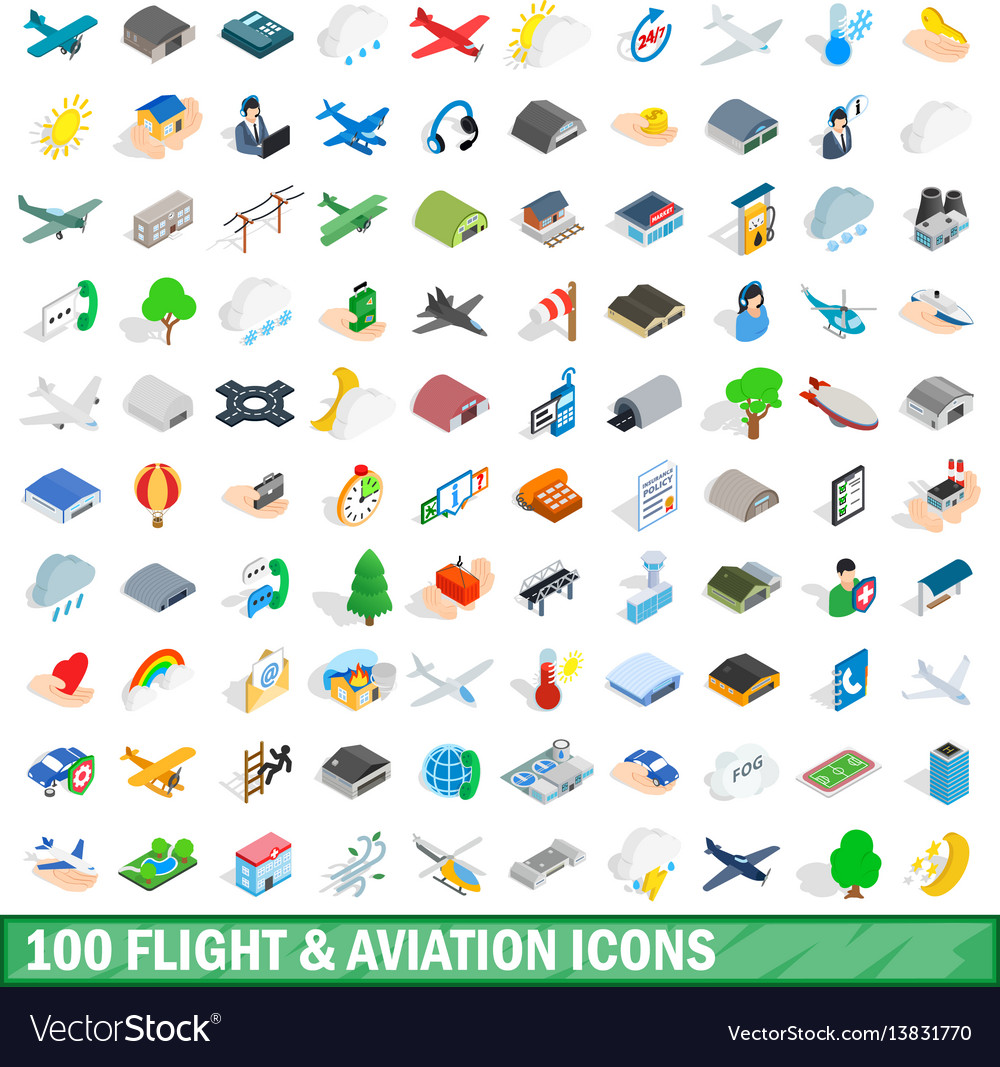 100 flight aviation icons set isometric 3d style vector image