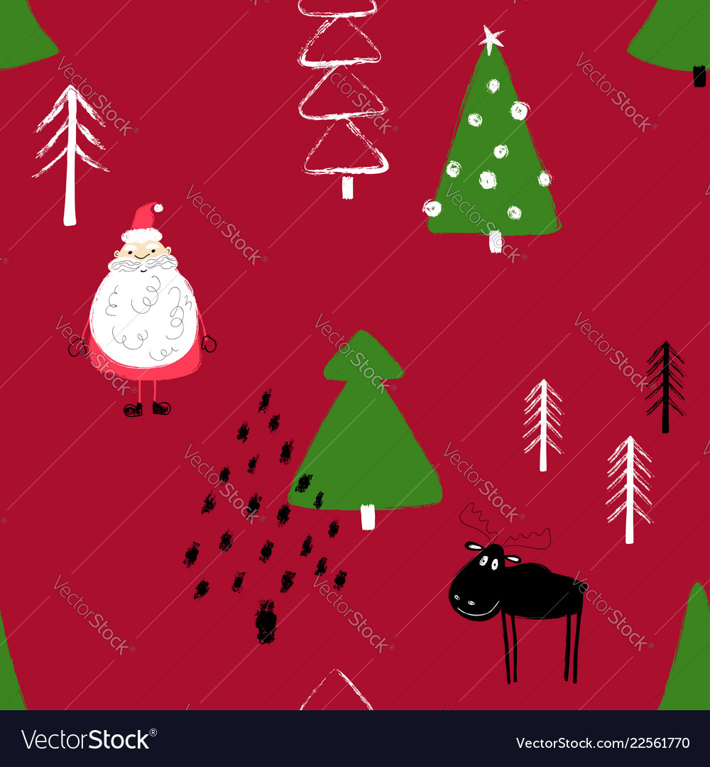 Funny christmas forest seamless pattern