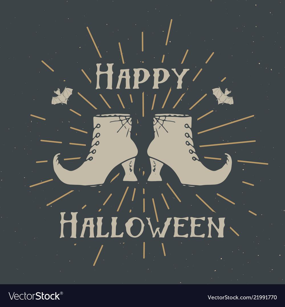 Halloween greeting card vintage label hand drawn