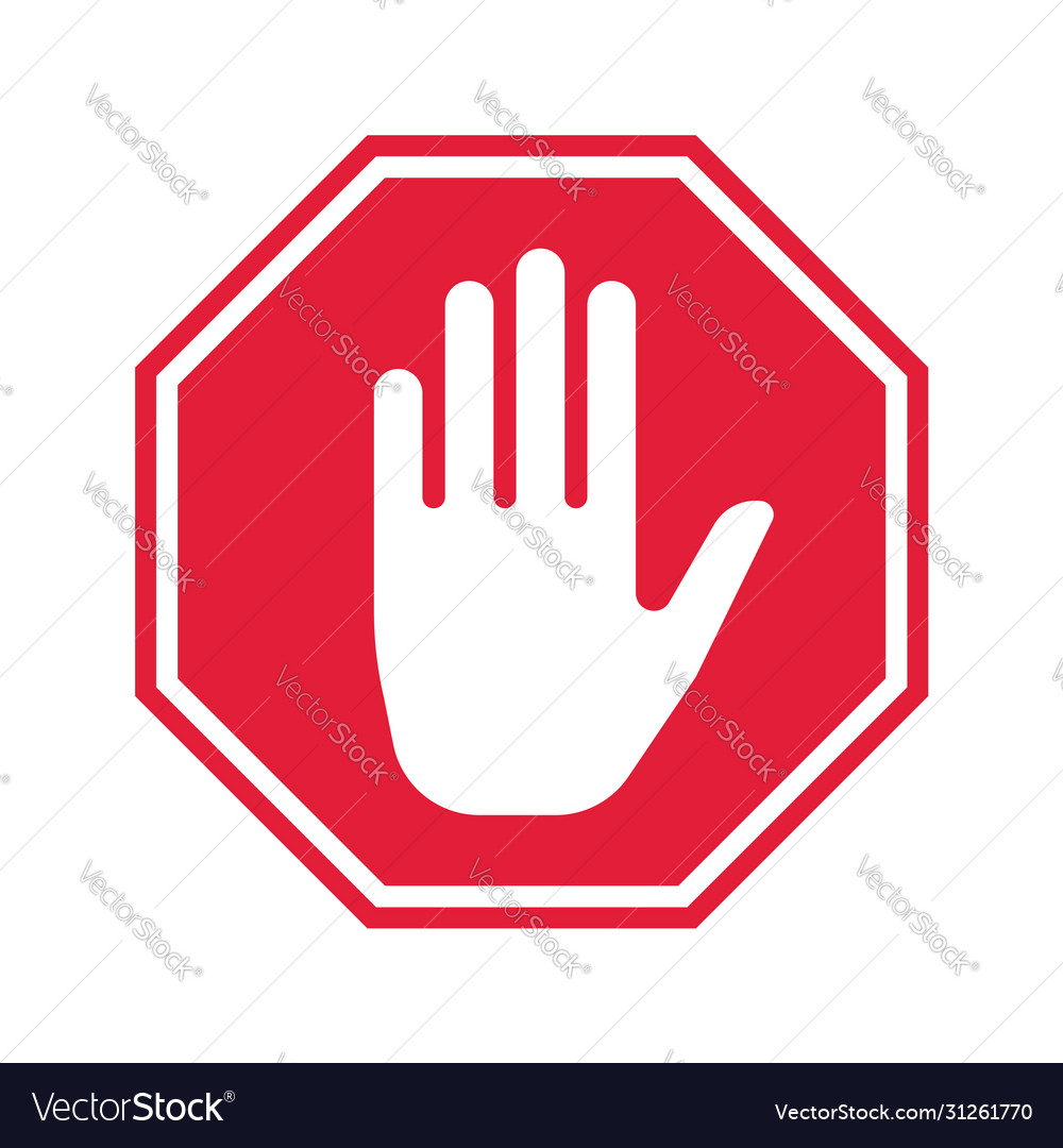 Hand stop icon prohibition sign