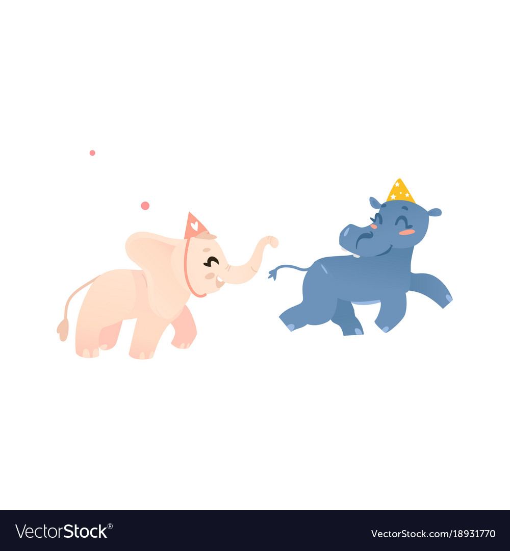 Hippo and elephant in birthday hats play tag