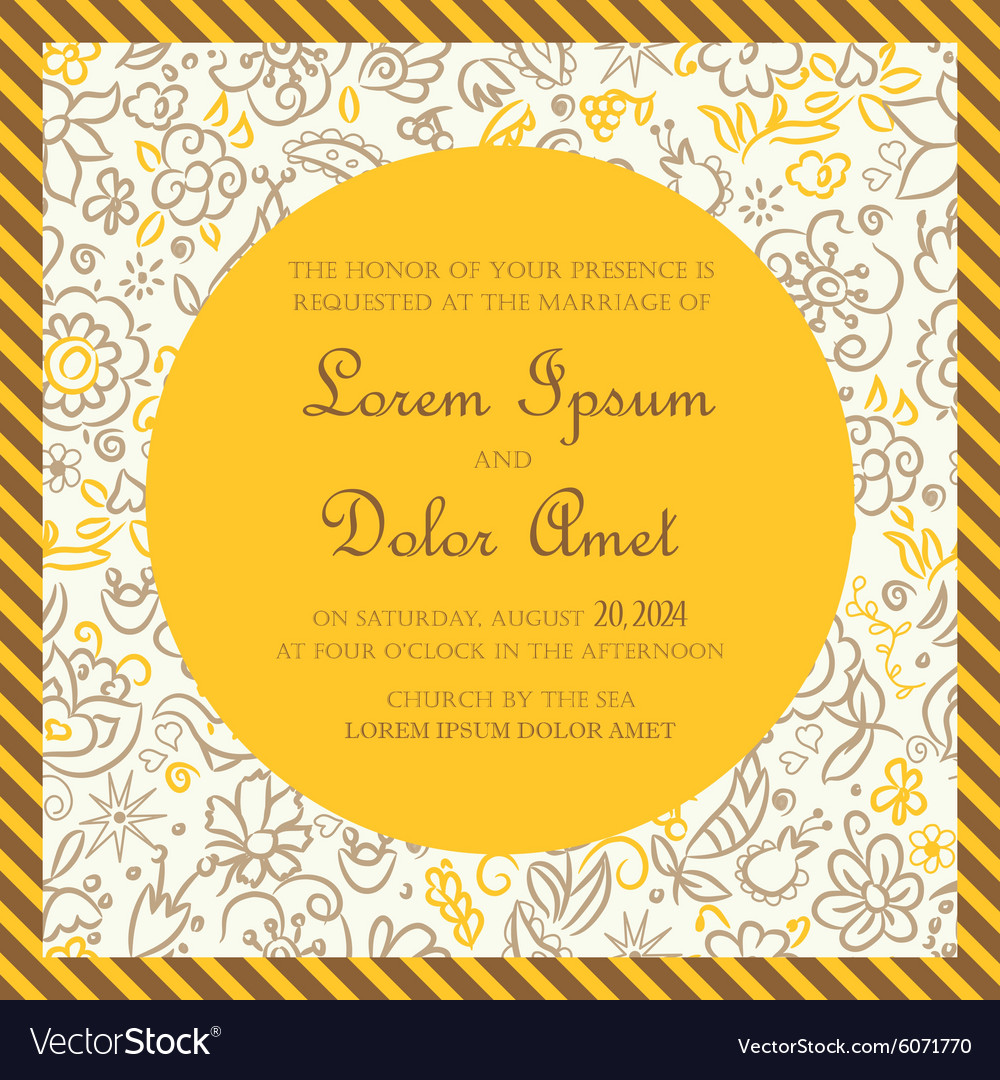 Invitation Card Yellow With Hand Drawn Background