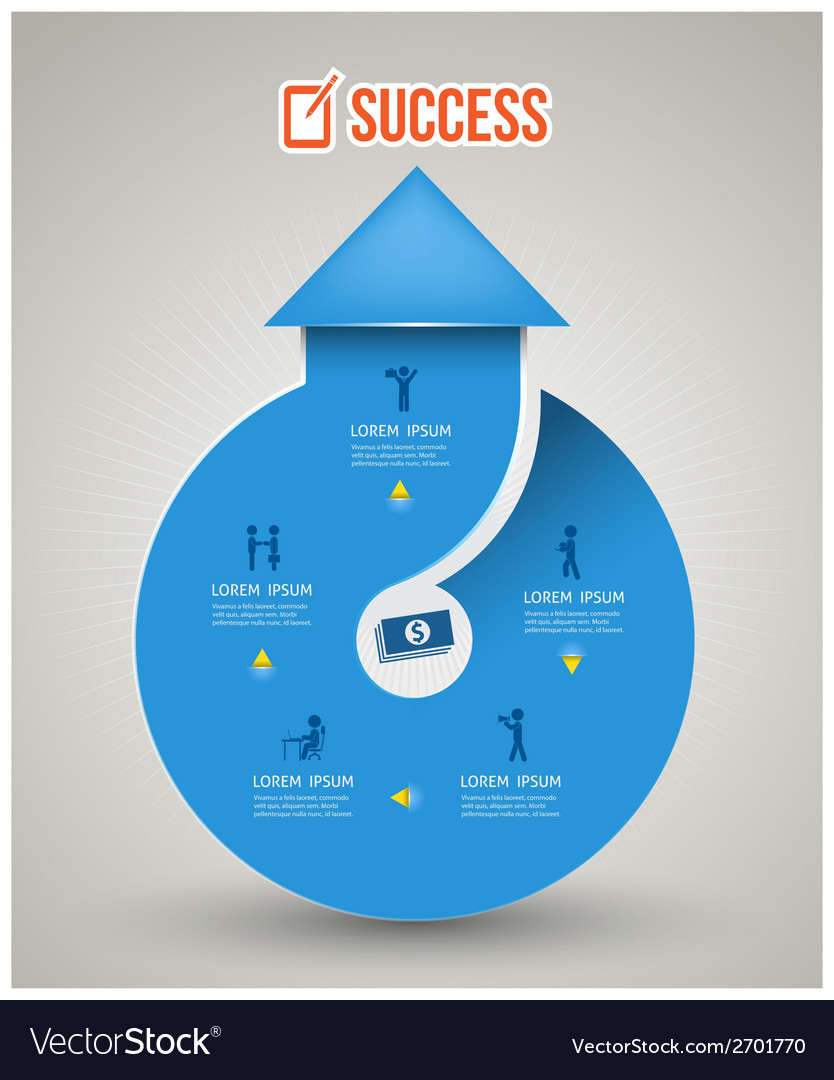 Isolated blue circular arrow with icons vector image