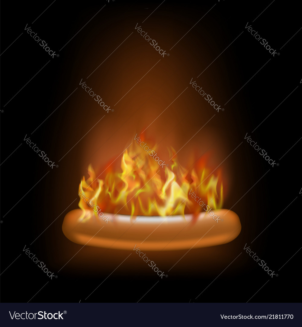 Realistic burning grill sausage and red fire