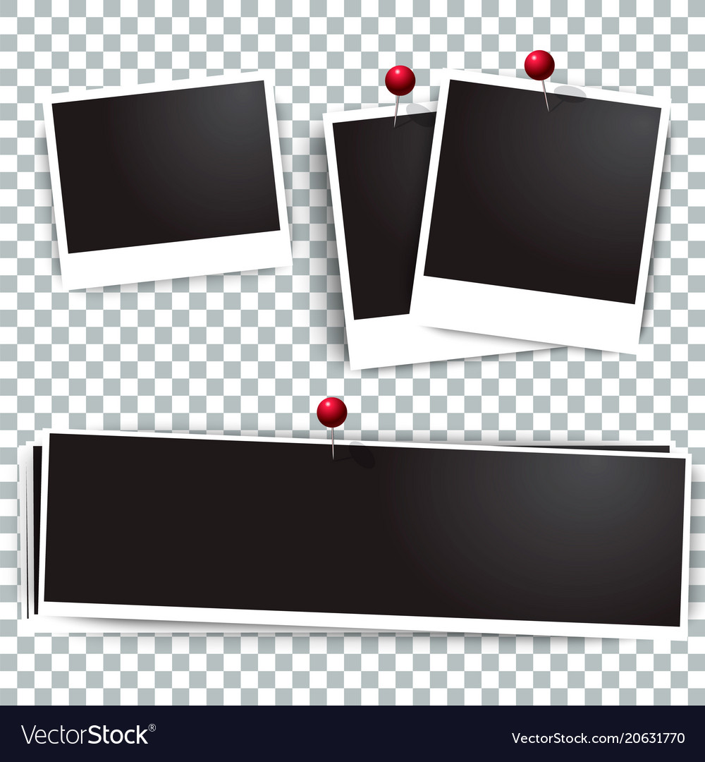 Realistic photo frame on red pin template