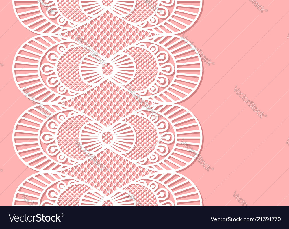 Seamless decorative lace border on pink background