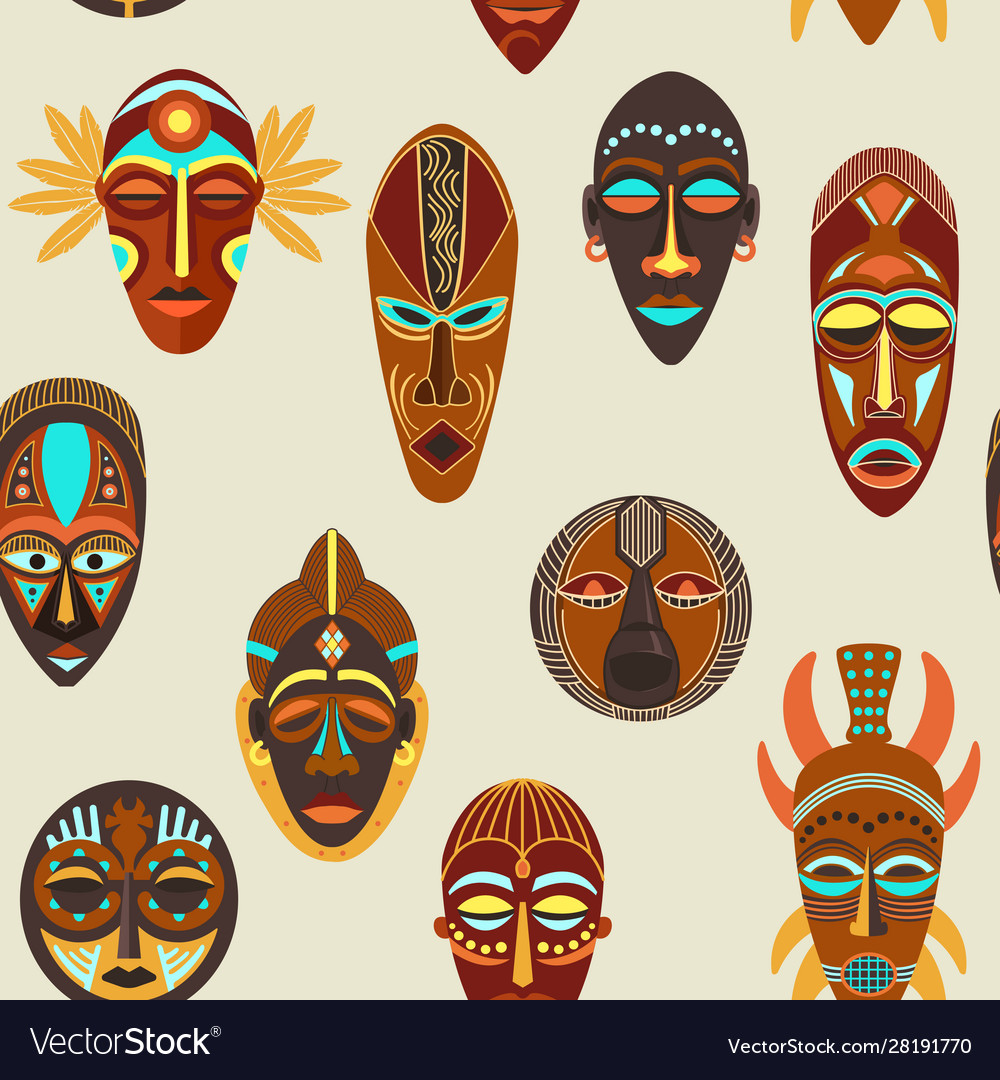 Seamless pattern flat colorful african ethnic