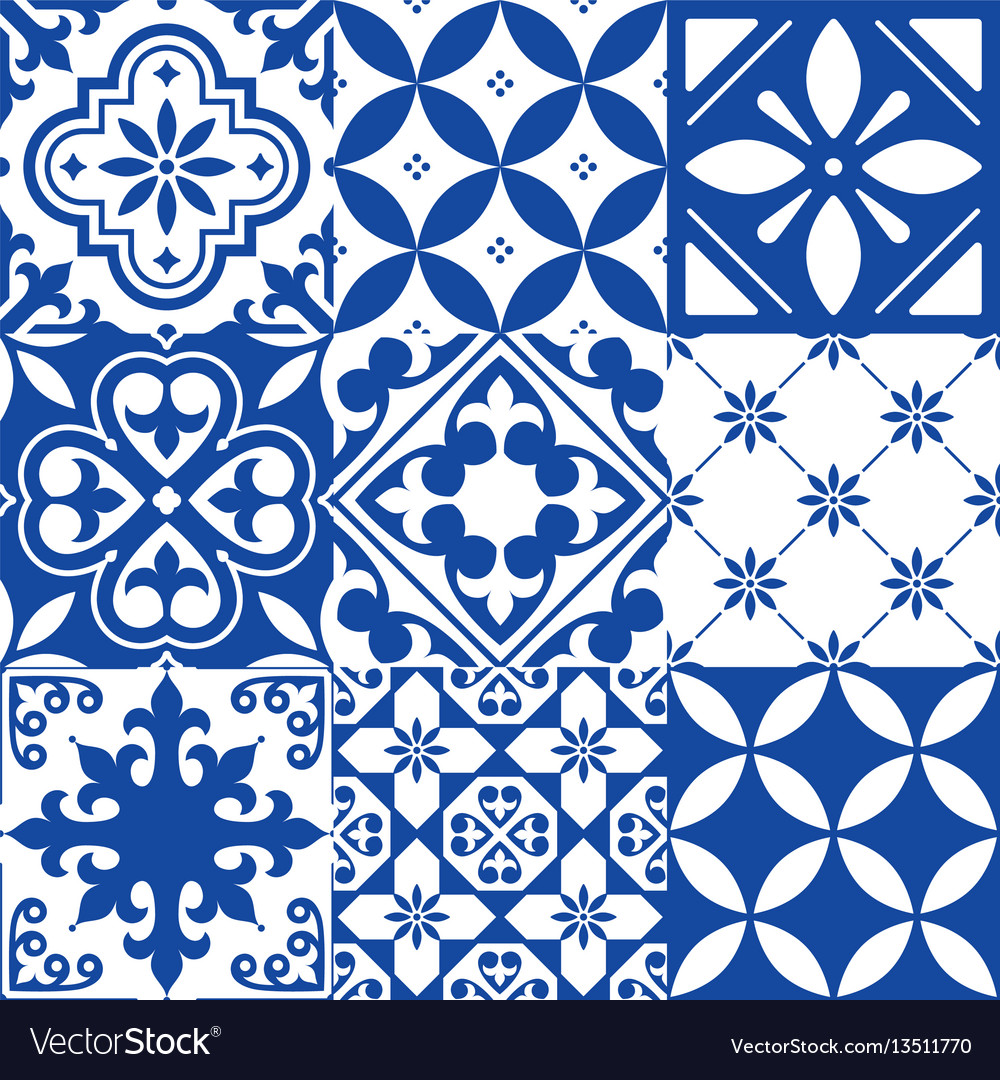 Spanish tiles moroccan tiles design seamless Vector Image