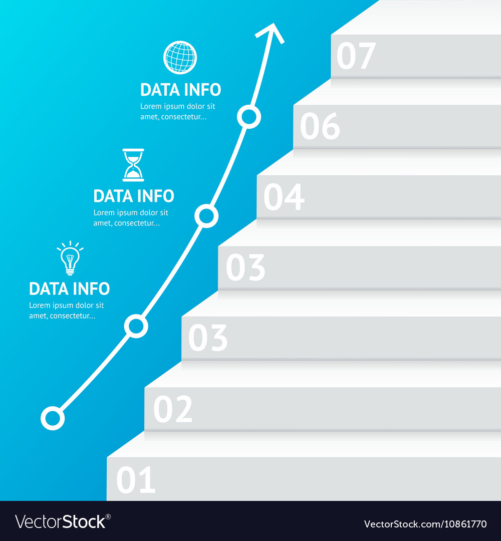 Stairs Step Banner Infographic Template