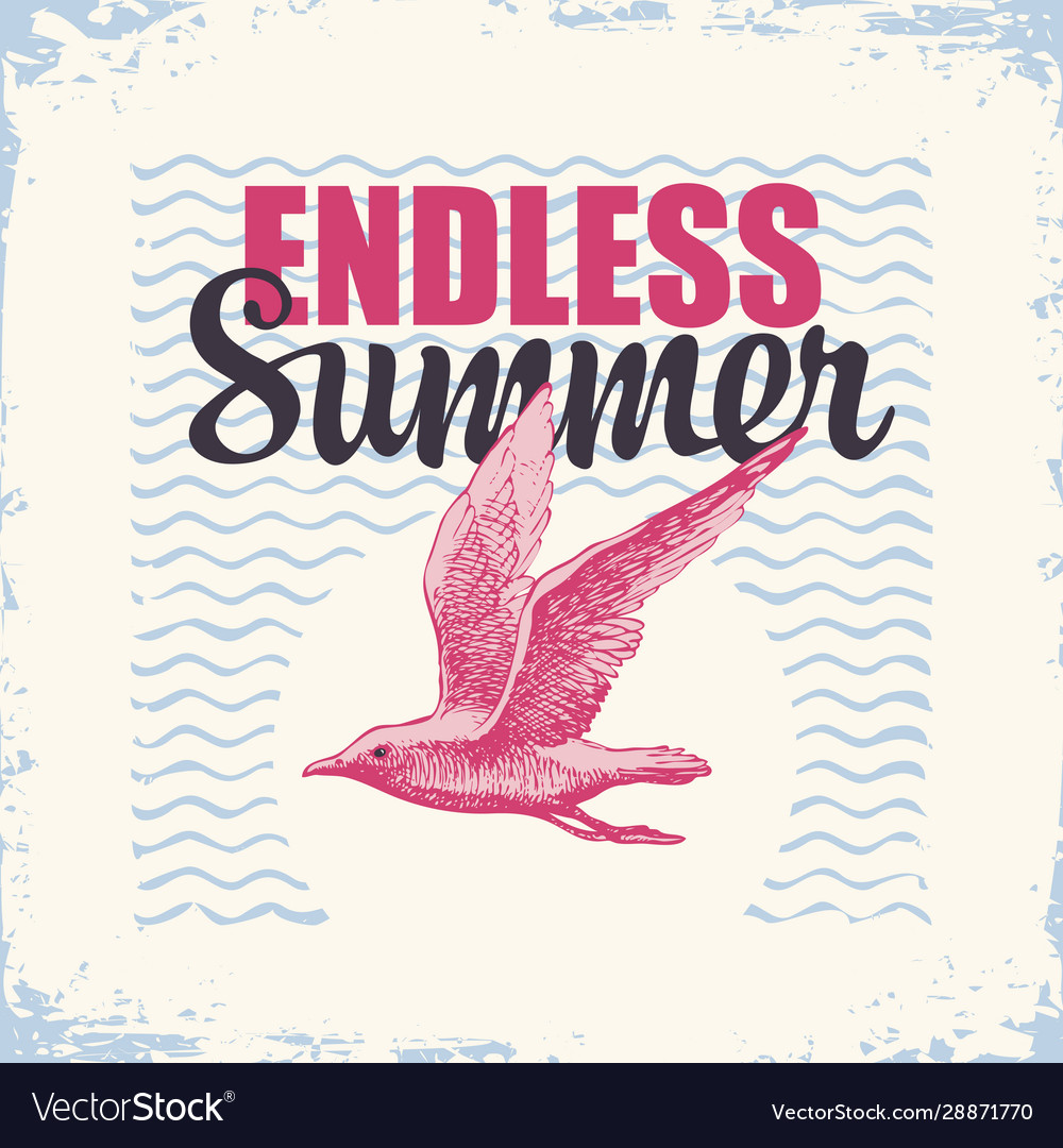 Travel banner with gull and sun endless summer